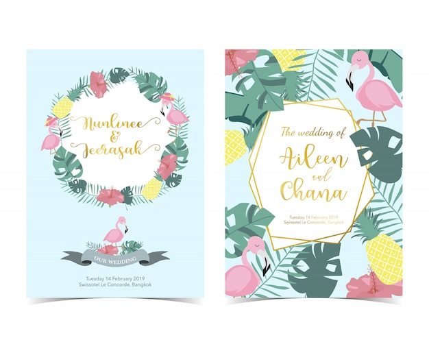 Blue pink invitation card with palm, pineapple,hibiscus Premium Vector