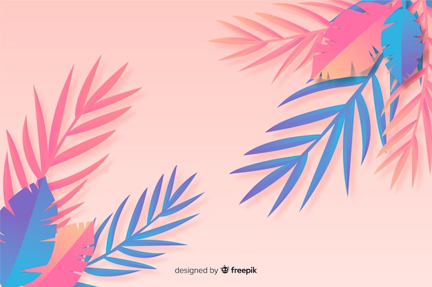 Blue and pink leaves background in paper style Free Vector