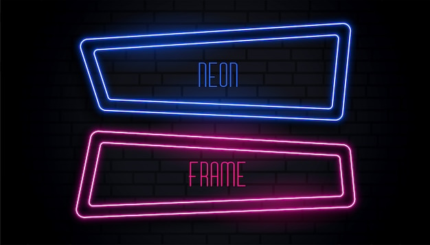 Blue and pink neon frame with copyspace Free Vector