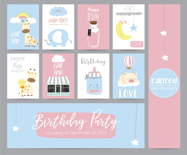 Blue pink pastel greeting card with girafffe, cafe, moon, elephant, star and pig Premium Vector