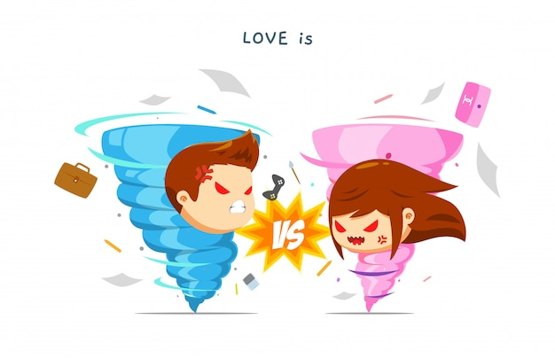 Blue and pink typhoon fighting each other. Premium Vector