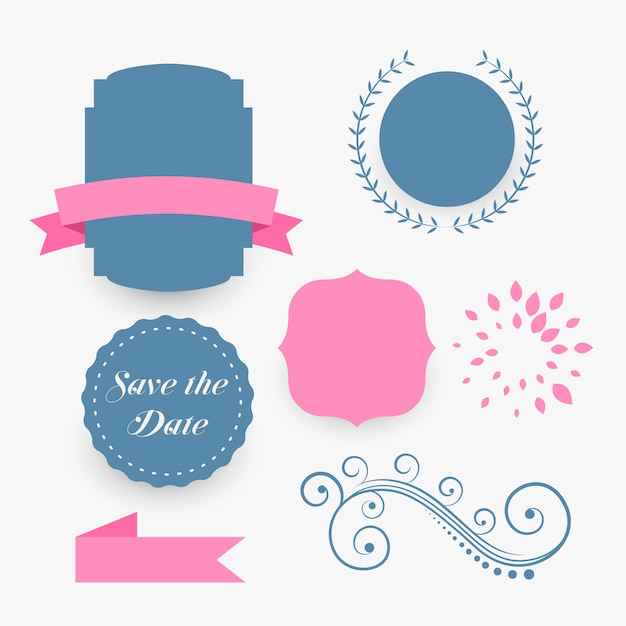 Blue and pink wedding decoration elements Free Vector