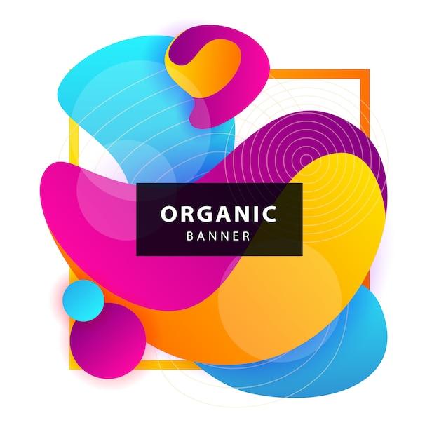 Голубые, розовые, желтые абстрактные органические формы с рамкой Бесплатные векторы