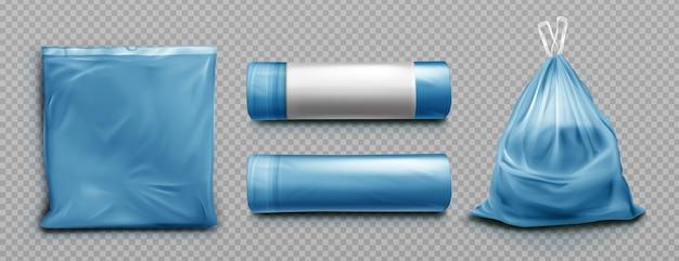 Blue plastic bag for trash Free Vector