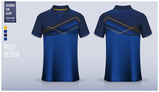 ブルーのポロシャツテンプレートデザイン、スポーツユニフォーム、カジュアルウェア。 Premiumベクター