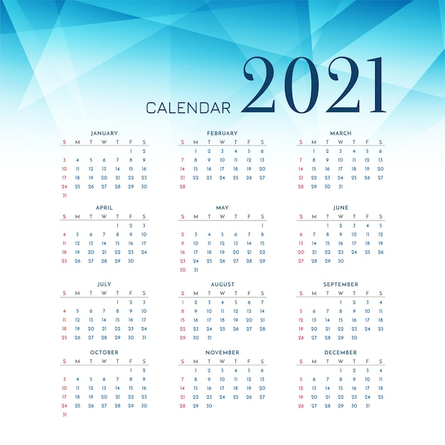 Blue polygonal 2021 new year calendar design Free Vector