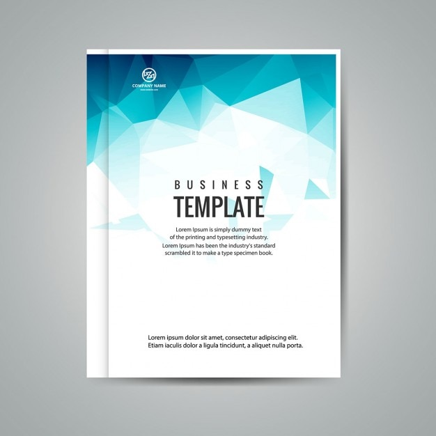 Book Cover Design Template Vector Illustration Free Download : Blue polygonal business booklet vector free download