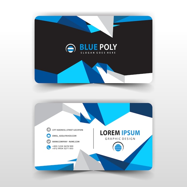 Blue Polygonal Business Card Free Vector