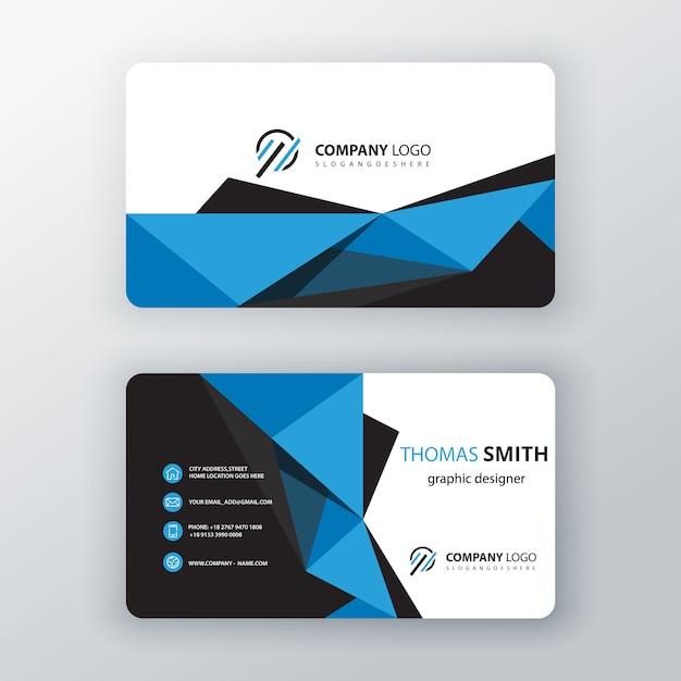 Blue polygonal editable business card Free Vector