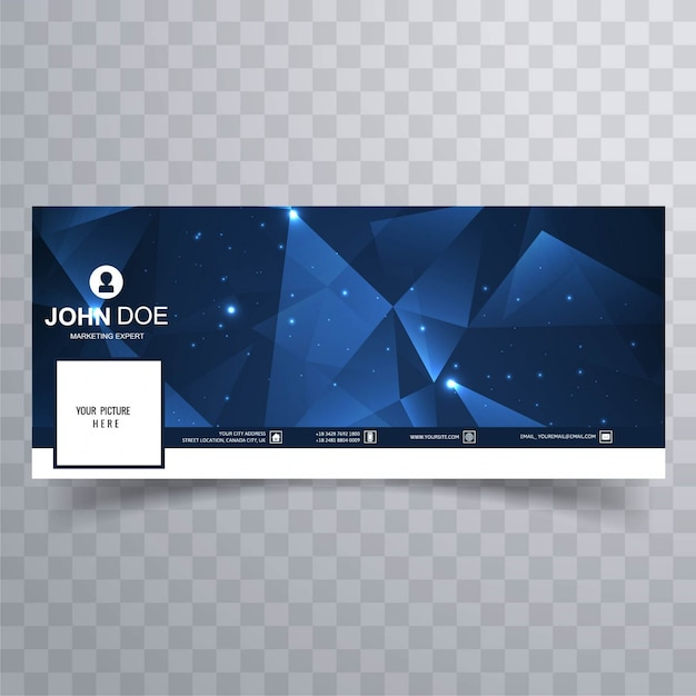 Blue polygonal facebook banners Free Vector