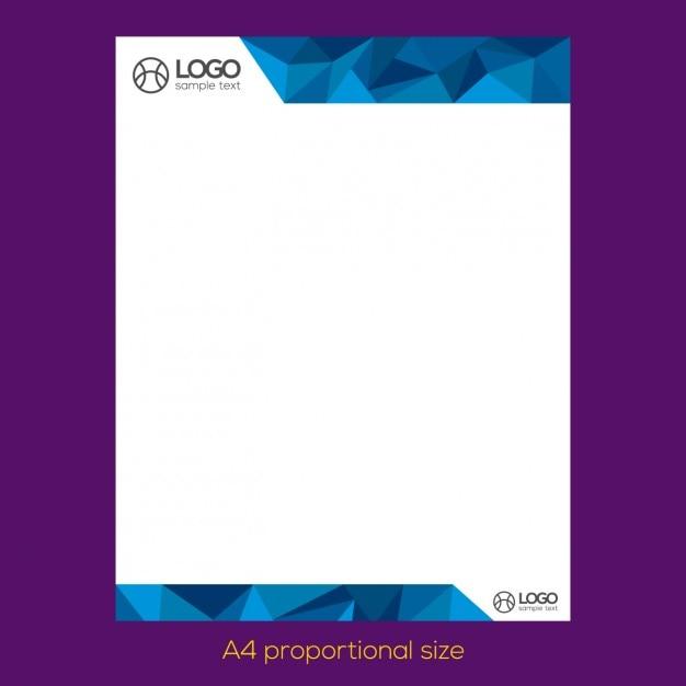 Blue polygonal letterhead  Free Vector