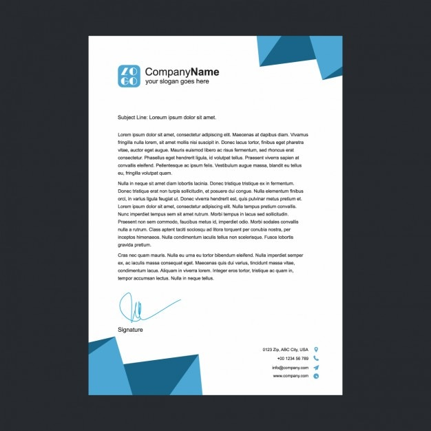 Blue polygonal shapes letterhead Free Vector