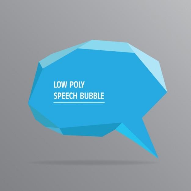 Blue polygonal speech bubble