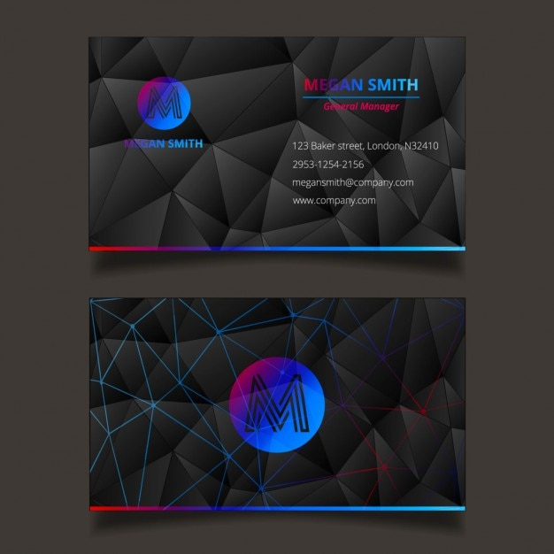 Blue polygonal technology business card template vector free download blue polygonal technology business card template free vector flashek Images