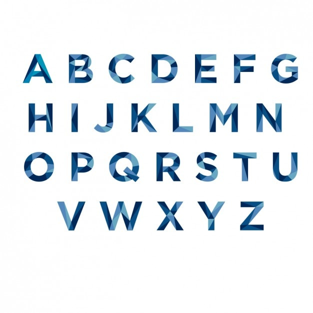 Blue polygonal typography Free Vector