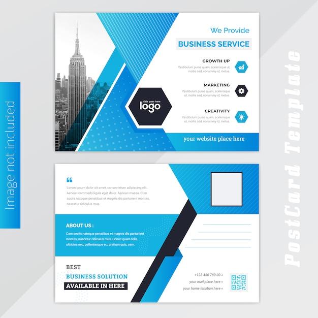 Blue post card design Premium Vector
