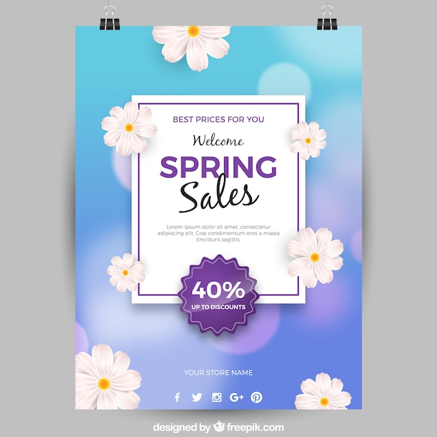 Blue poster template with flowers for spring sales Free Vector