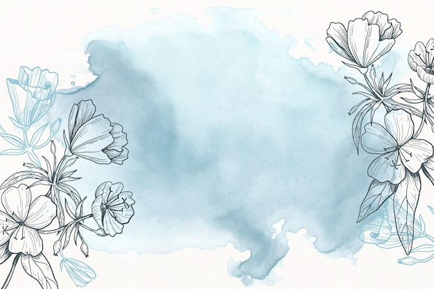 Blue powder pastel with hand drawn flowers background Free Vector