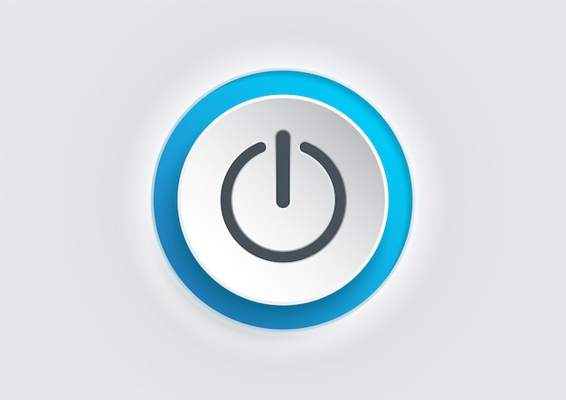 Blue power button icon. illustrator vector. Premium Vector
