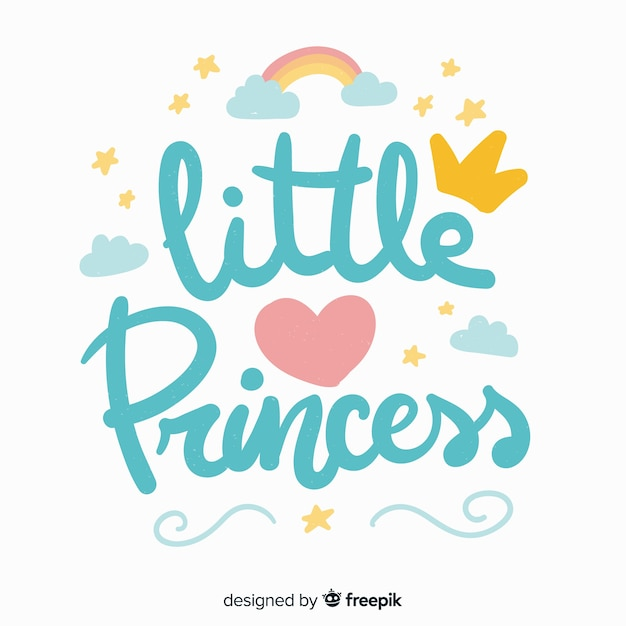 Blue princess lettering background Free Vector