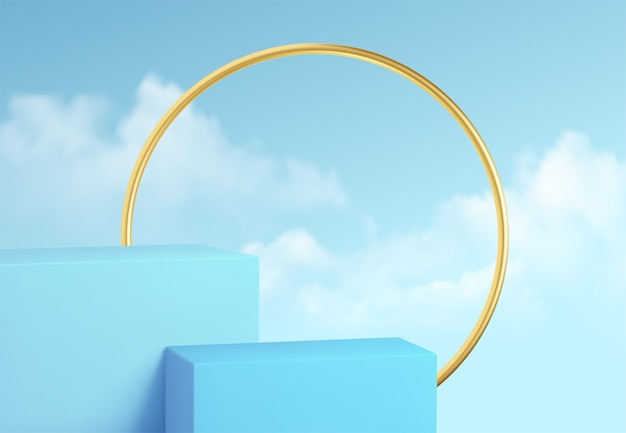 Blue product podium showcase on the background of clear sky with clouds and gold decoration. podium Premium Vector