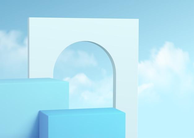 구름과 맑은 하늘 배경에 파란색 제품 연단 쇼케이스. 프리미엄 벡터