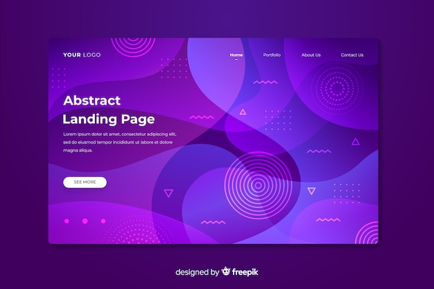 Blue and purple abstract landing page Free Vector