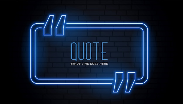 Blue quotation frame in neon glowing style Free Vector