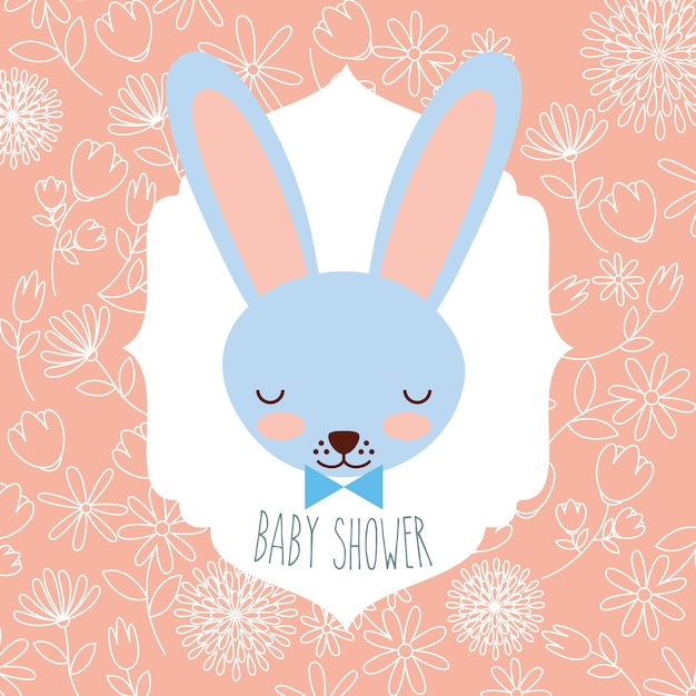 Blue rabbit head baby shower label Premium Vector