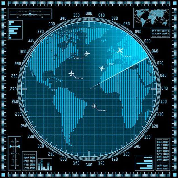 Blue radar screen with planes and world map Premium Vector