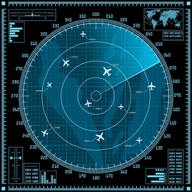 Blue radar screen with planes Premium Vector