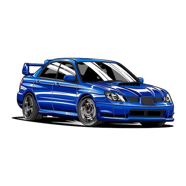青いラリーカー手描き Premiumベクター