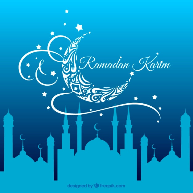 Blue ramadan background with a mosque silhouettes Free Vector