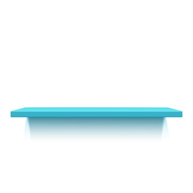 Синяя реалистичная полка на белом фоне. иллюстрация Premium векторы