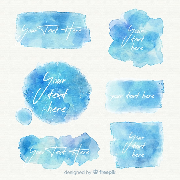 Blue realistic watercolor stain collection Free Vector