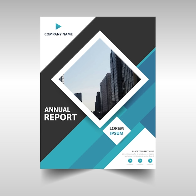Blue rectangular corporate annual report template Vector – Free Annual Report Templates
