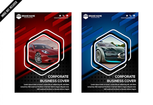 Blue red and black hexagon abstract cover design template vector. business flyer Premium Vector
