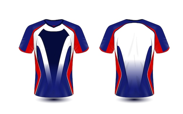 Blue Red And Black Layout E Sport T Shirt Design Template Vector