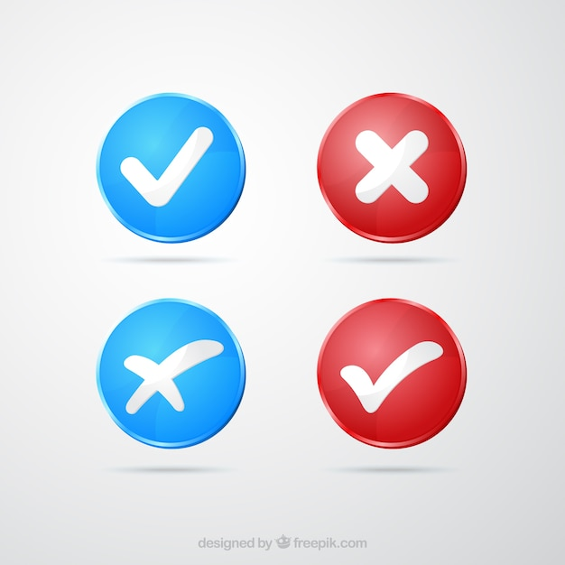 Blue and red check marks Free Vector