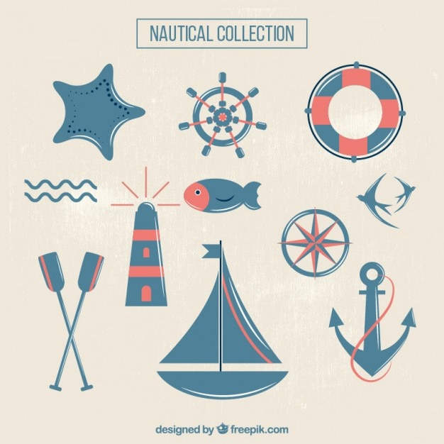 Blue and red cute sailing things Free Vector