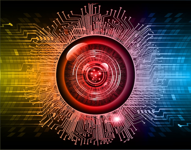 Blue red eye cyber circuit future technology background Premium Vector