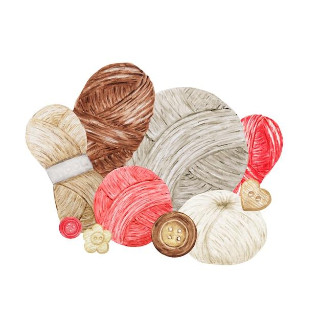 Blue red gray beige crochet shop logotype Premium Vector