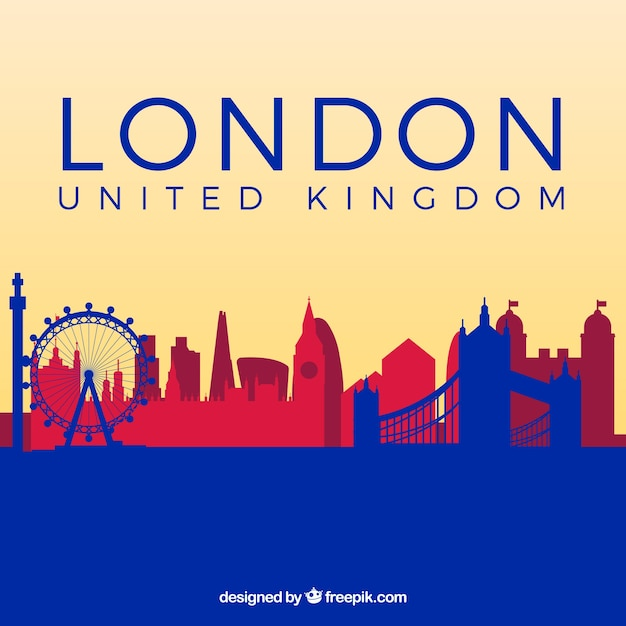 Blue and red skyline of london Free Vector