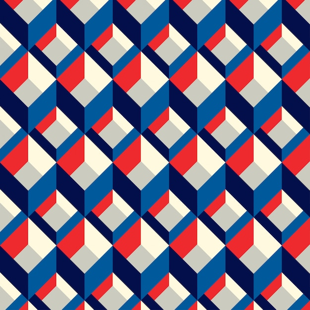 Blue and red squared seamless pattern Premium Vector