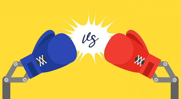 Blue and red toy boxing gloves arm Premium Vector