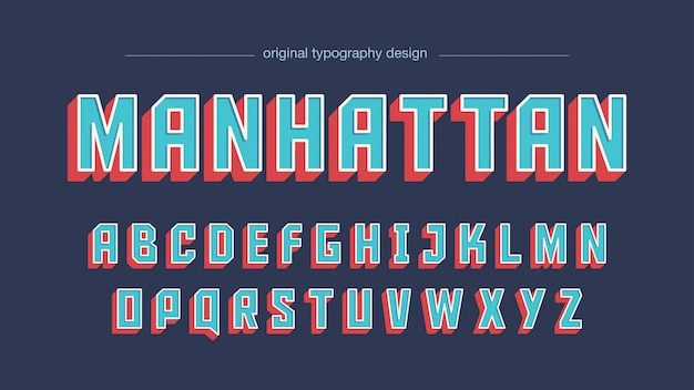 Blue red vintage square bold typography Premium Vector