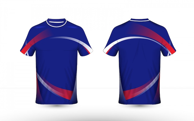 Blue, red and white layout e-sport t-shirt template Premium Vector