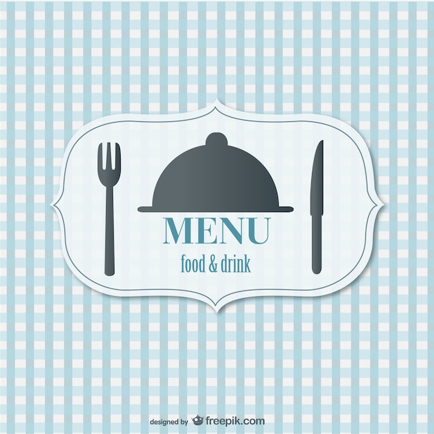 Blue restaurant menu with a fork and a knife Free Vector