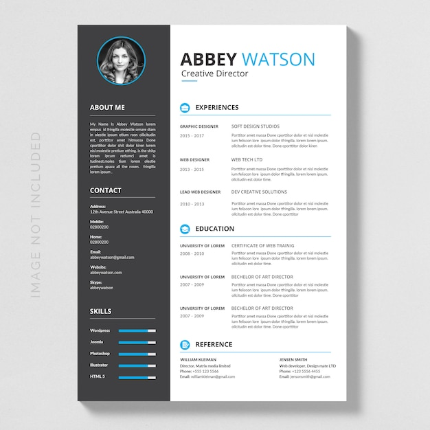 blue resume mockup vector premium download