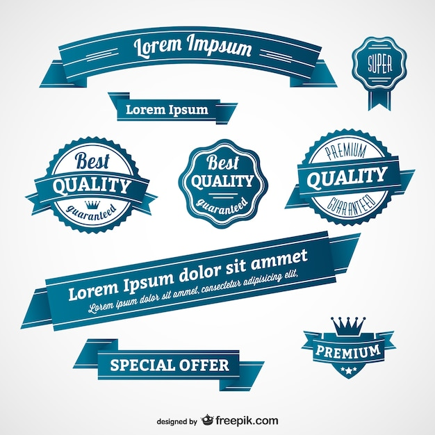 Blue retro badges and banners Free Vector